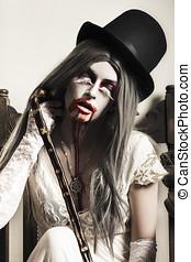 fantasma, arte, escuro, sangue,  grunge, menina, boca, multa