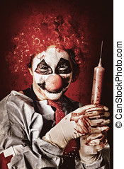 Crazy medical clown holding oversized syringe filled with...