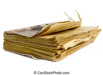 Decrepit book isolated on a white background