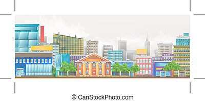 City vector illustration - City, vector colorful...