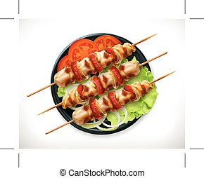 Shish kebab on a plate, vector icon, isolated on white...