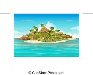 Tropical island background - Tropical island, vector...