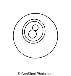 Eightball line icon, thin contour on white background
