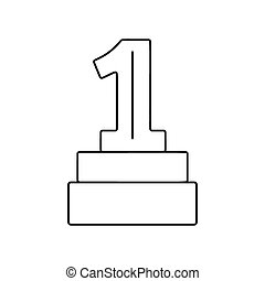 1st place award line icon, thin contour on white background