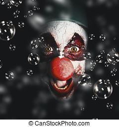assustador, horror, Circo, Palhaço, rir, com, Mal,...
