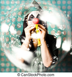Doctor clown blowing party horn at monster party - Abstract...