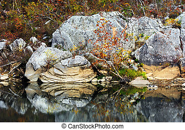 Buffalo River Rock - Layered rock sits on the Buffalo River...