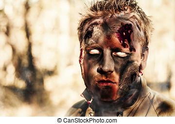 quemado, zombi, posición, en, ardiendo fuego lento,...