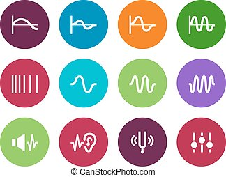 Music waves circle icons on white background Vector...