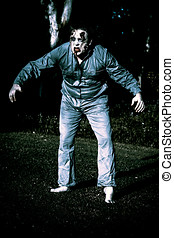 Evil dead horror zombie walking undead in cemetery - Creepy...