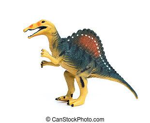 spinosaurus, juguete, en, Un, blanco, Plano de fondo,