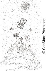 Floral meadow with butterflies. Landscape with scattering of...