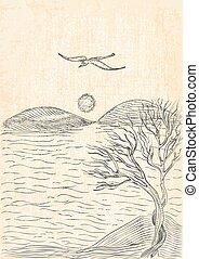 landscape with tree on a hilly sea shore and flying seagull....