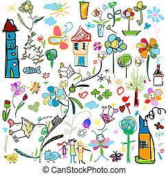 child like drawings - set of drawings in child like style