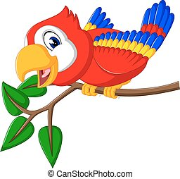 cute parrot cartoon - illustration of cute parrot cartoon