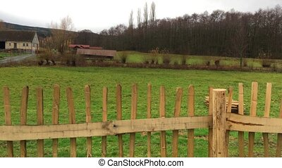 Old German Houses in Field Fence - Old German Houses in...