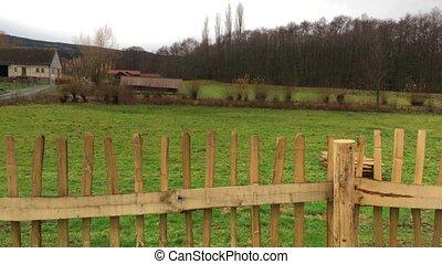 Old German Houses in Field Fence - Old German Houses in...