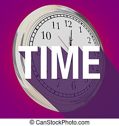 Time Word Clock Long Shadow Passing Moments Now Future -...