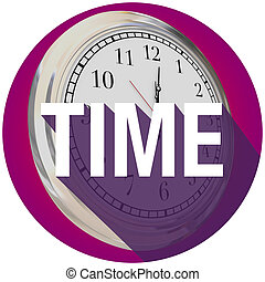 Time Word Clock Long Shadow Circle Seal Round Emblem - Time...