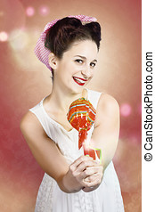 Sweet as sugar lollipop pinup woman offering candy - Sweet...