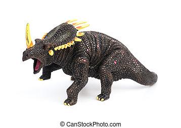 Triceratops, juguete, en, Un, blanco, Plano de fondo,