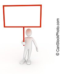3d person with blank poster