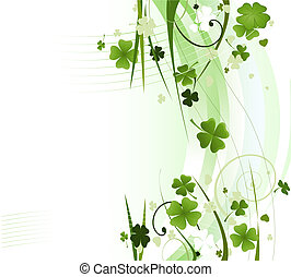 design for St. Patrick\'s Day with four and three leaf...