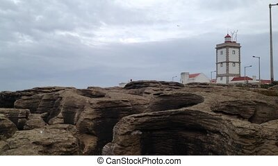 Lighthouse in the Carvoeiro Cape, Peniche, Portugal