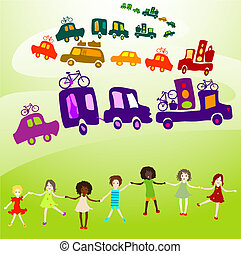 caravan, group of kids playing - cars caravan, Group of kids...