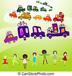 caravan, group of kids playing - cars caravan, Group of kids...