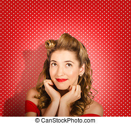 Retro pinup model Beauty and fashion copyspace - Close...