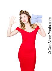 copyspace, fönster, tvätta, Avtorkning, ren, flicka, utvikningsbrud