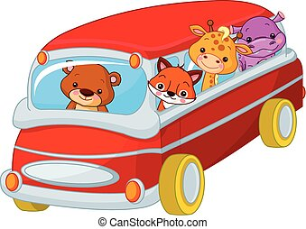 Trip - Illustration of cute toy bus full of animals