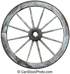 Twelve spoked timber and steel wagon wheel - Old timber and...