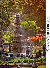 Intricate, Decorative Fountain at Tirta Gangga in Indonesia...