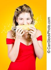 äta, liktorn, gratis, Majskolv,  retro,  gmo, flicka, utvikningsbrud