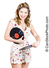 DJ disco pin-up girl rocking out to retro vinyl - Isolated...