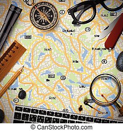 Colourful travel banner with map, keyboard, compass,...