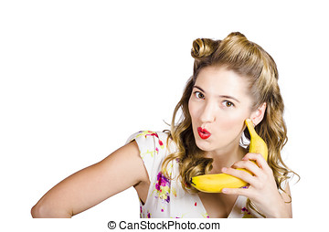 Pinup woman ordering organic fruit on banana phone - Funny...