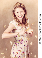 Pin-up cooking girl peeling potato. Quick recipe - Creative...
