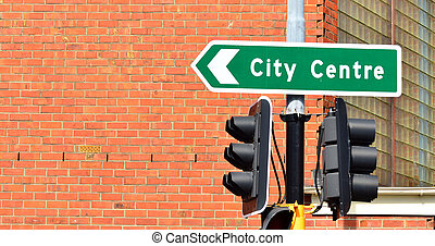 City center traffic sign Urban lifestyle concept