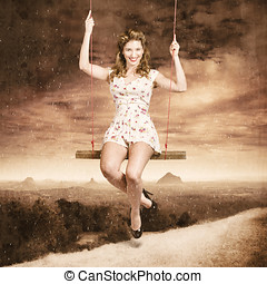Pin-up beauty enjoying summer rain in Australia - Outdoor...