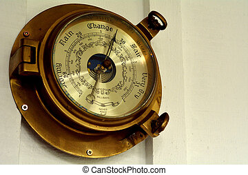 Barometer on a wall.Weather concept with copy space