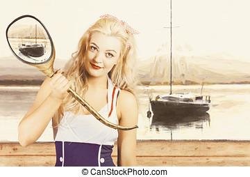 Retro, alfiler, Arriba, marinero, mujer, con, náutico,...