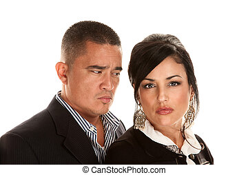 Concerned Hispanic Couple - Attractive concerned Hispanic...