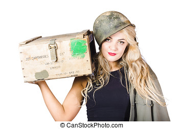 Backup pinup girl wearing army helmet and supplies - Beauty...
