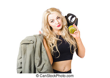 Blond pin up woman holding gasmask Nuclear pinups - Military...