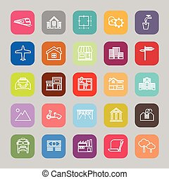 Real estate flat line icons, stock vector