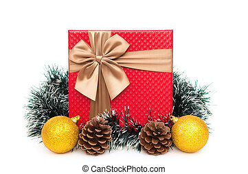 present box with christmas decoration on a white background