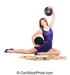 Pin-up woman balancing sound with record music - Isolated...